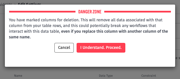 Data Table Column Delete Warning