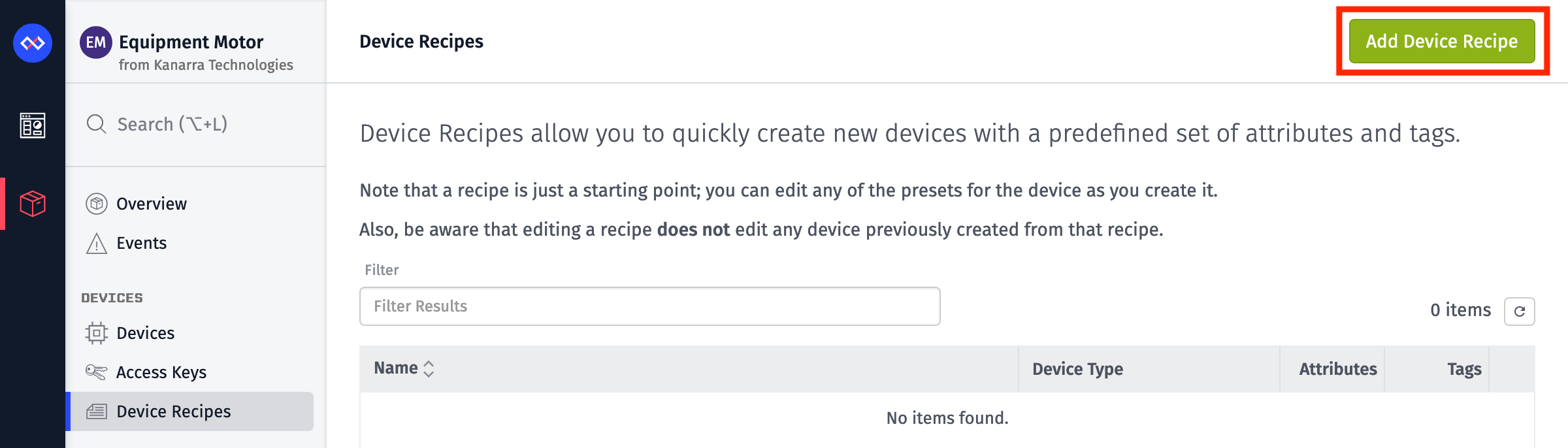 Add Device Recipe