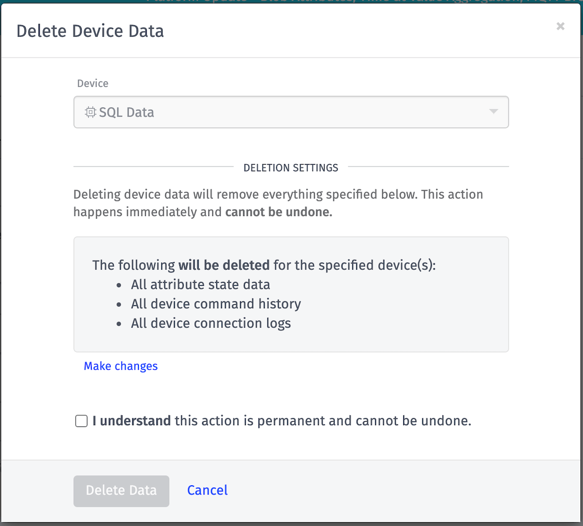 Delete Device Data
