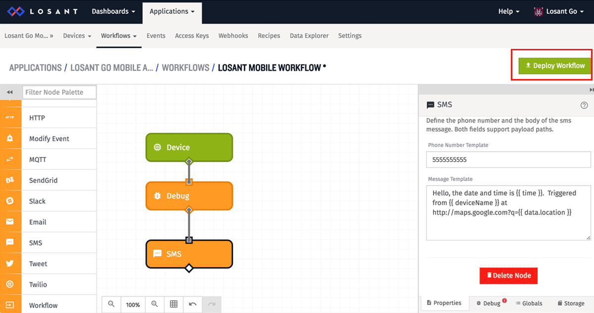 Click Deploy Workflow