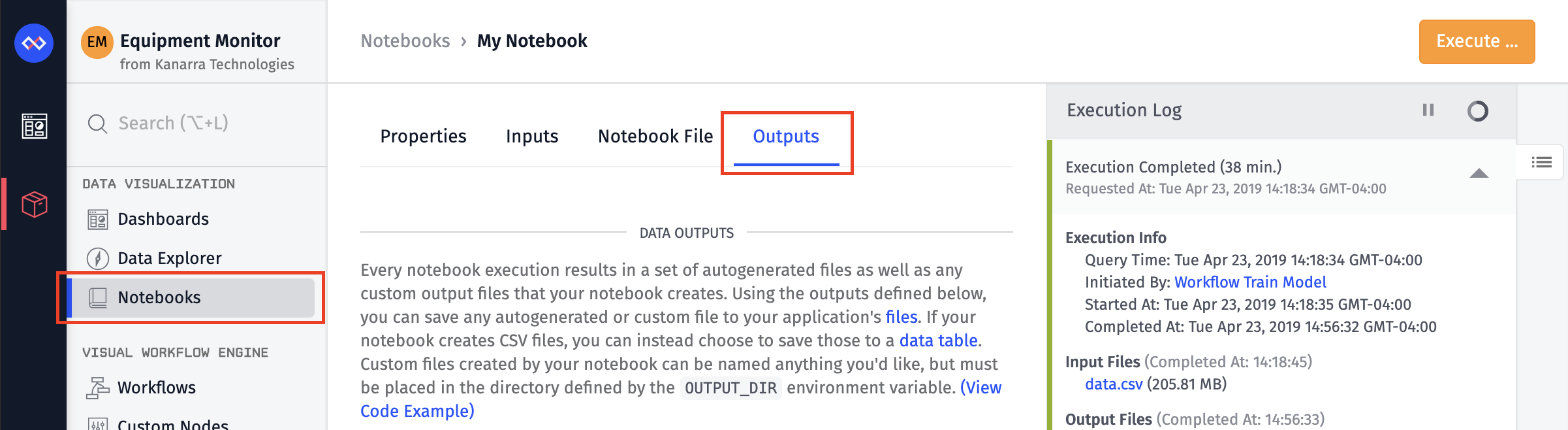 Notebook Outputs Overview