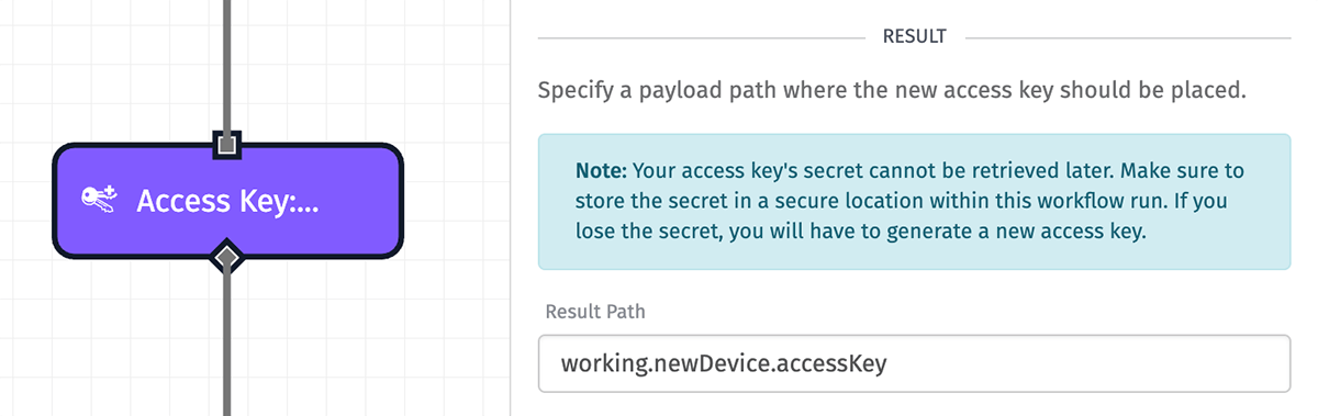 Access Key: Create Node Result