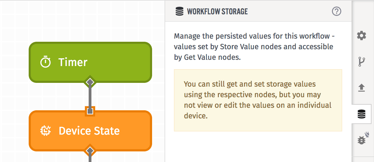 Edge Workflows Storage Tab