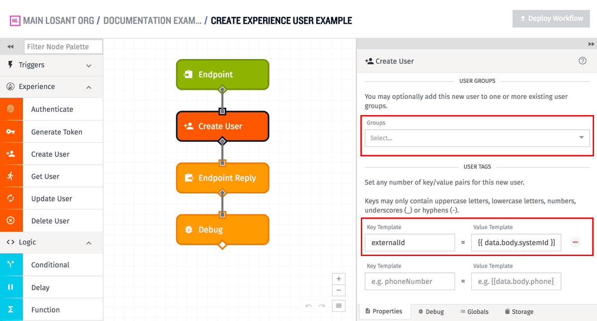 Create Experience User Node More Configuration