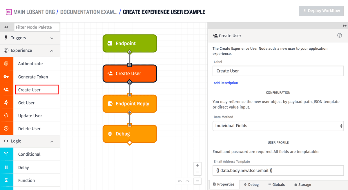 Create Experience User Node