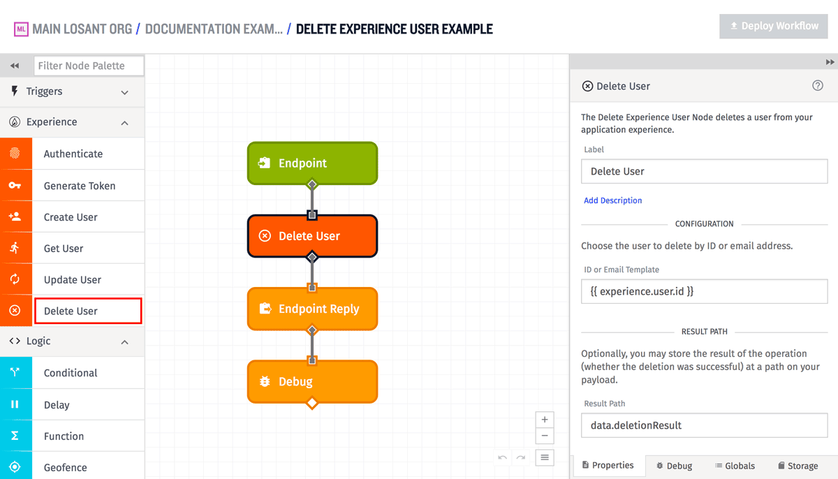 Delete Experience User Node