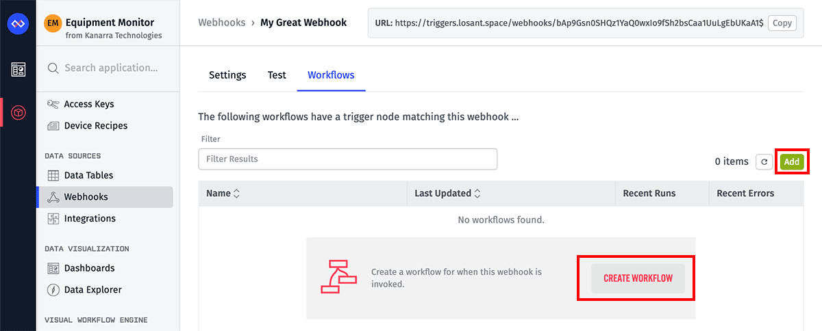 Webhooks Workflow List